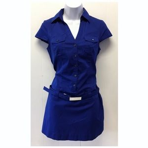 Express | Royal Blue Fitted T-shirt Belted Dress